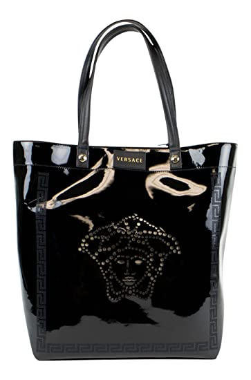 c9650b81cdb3 Amazon.com   VERSACE MAINLINE Black Faux Patent Leather Tote Hand Bag   Baby