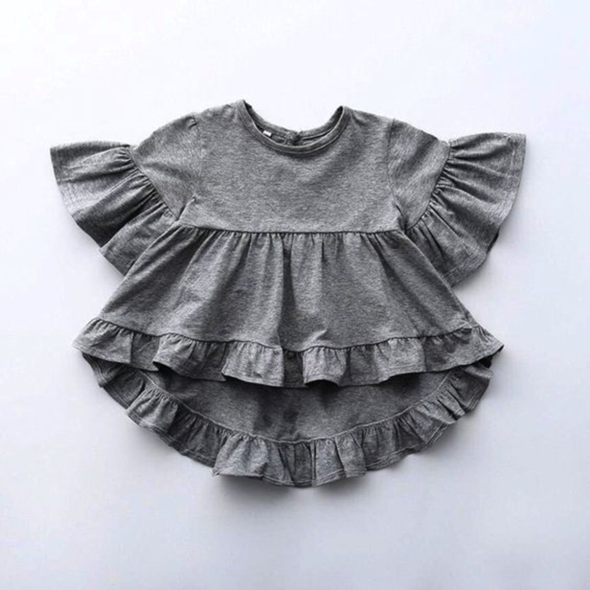 XBRECO Toddler Kids Girls Flare Sleevele Peplum Tops Baby Ruffled Casual Beach Blouse Clothes Gray