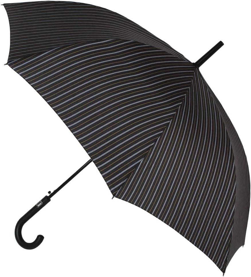 Elegante Paraguas básico Vogue para Hombre. Estampado Raya diplomática. Sistema antiviento y Apertura automática (Rayas marrón Claro Blanco)