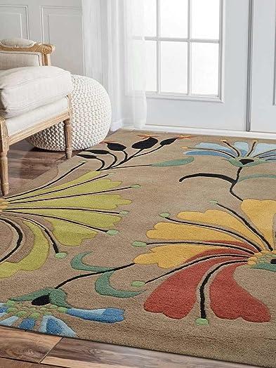 Rugsotic Carpets Hand Tufted Wool 4 x 6 Area Rug Floral Camel K00219