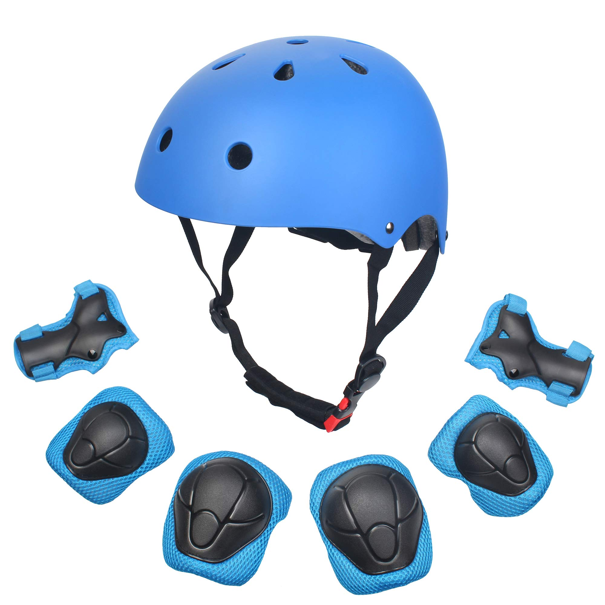 Sarik Kids Outdoor Multi-Sports Protective Gear Set Boys and Girls Helmet Knee Elbow Wrist Safety Pads for Cycling, Rollerblades, Scooter, Skateboard, Bicycle, Rollerblades(3-10 Years Old) (Blue)