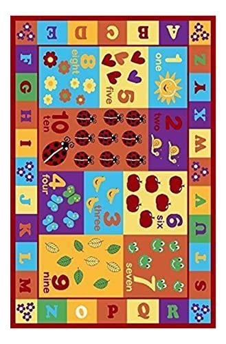 Furnish my Place 3 x 5 Kids ABC area rug Educational Alphabet Letter Numbers Multicolor Actual size 3 3 x 5 anti skid