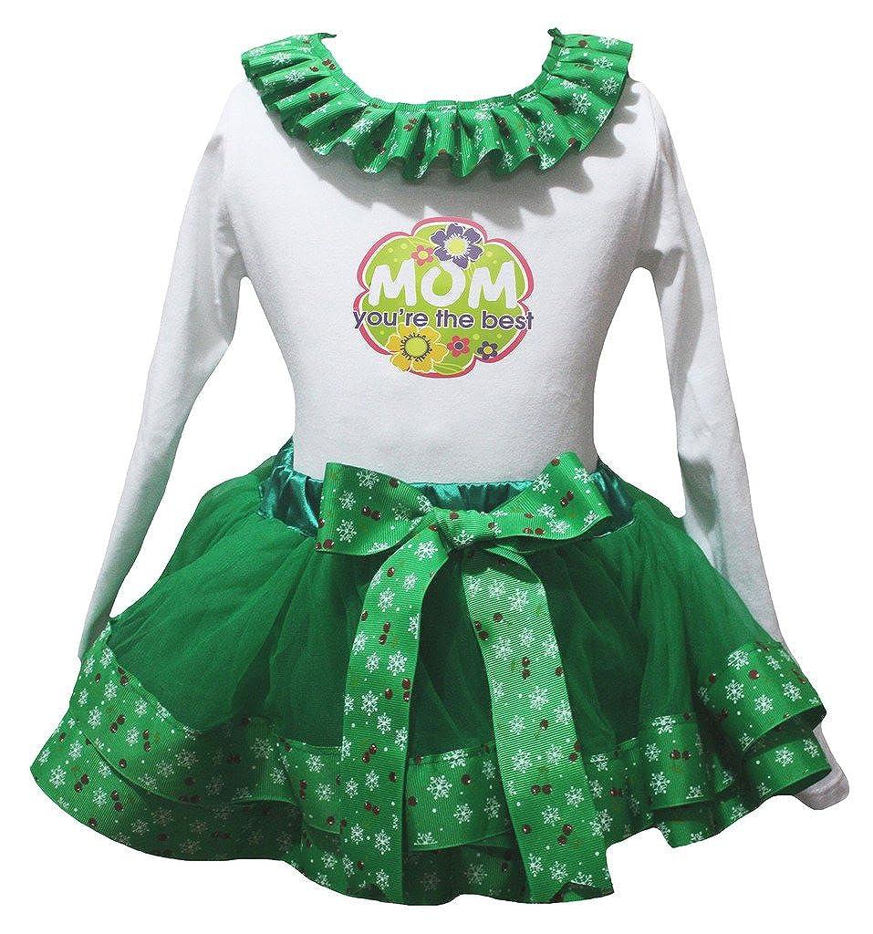 Petitebella Mom Youre The Best L//s Shirt Snowflake Green Petal Skirt Nb-8y