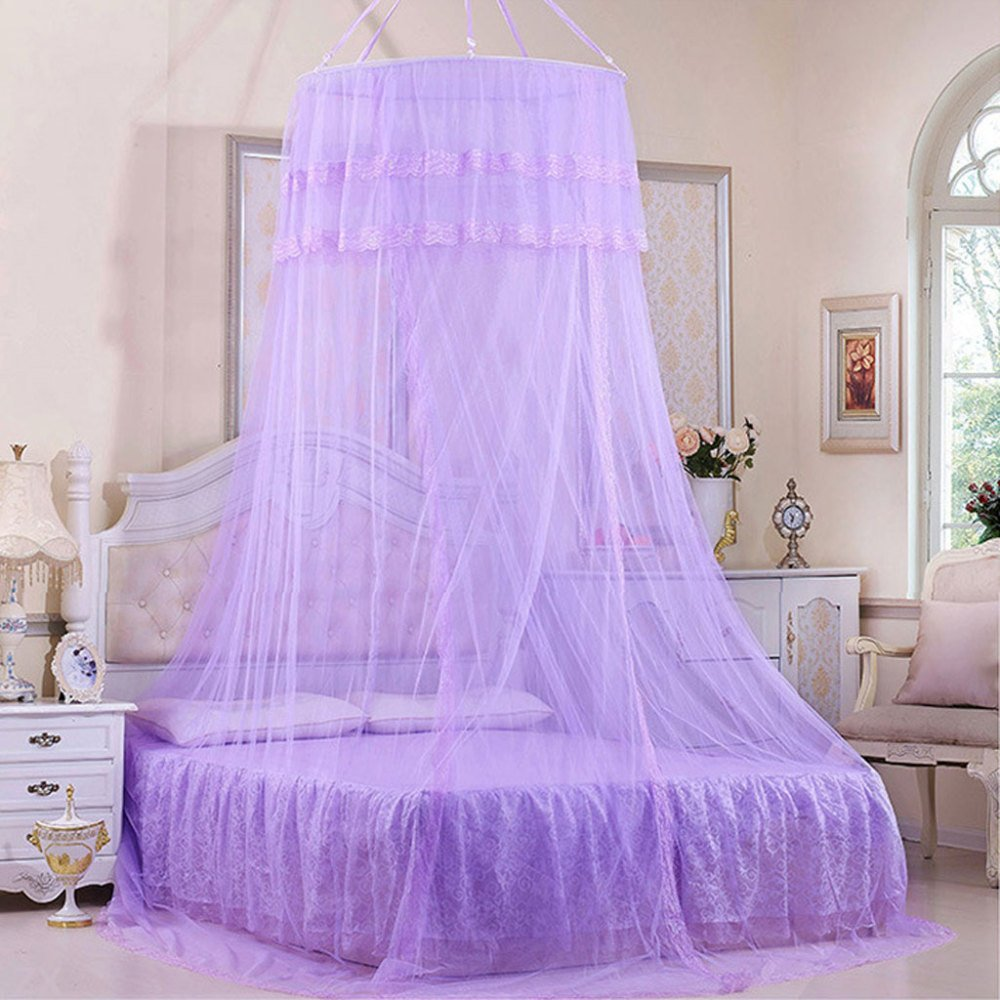 Mosquito Net Court Style Bed Canopy For Children Fly Insect Protection Indoor Decorative Purple Single-door