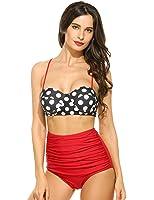 Ekouaer Vintage Women's Striped High Waist Push Up Bikini Set Bathing Suits