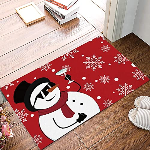 Arts Language Funny Doormats for Entrance Way Indoor Front Door Welcome Rugs Snowman Drinking White Snowflake Red Print Non-Slip Bath Mat Kitchen Mat Floor Carpet for Bedroom Office 18x30inch