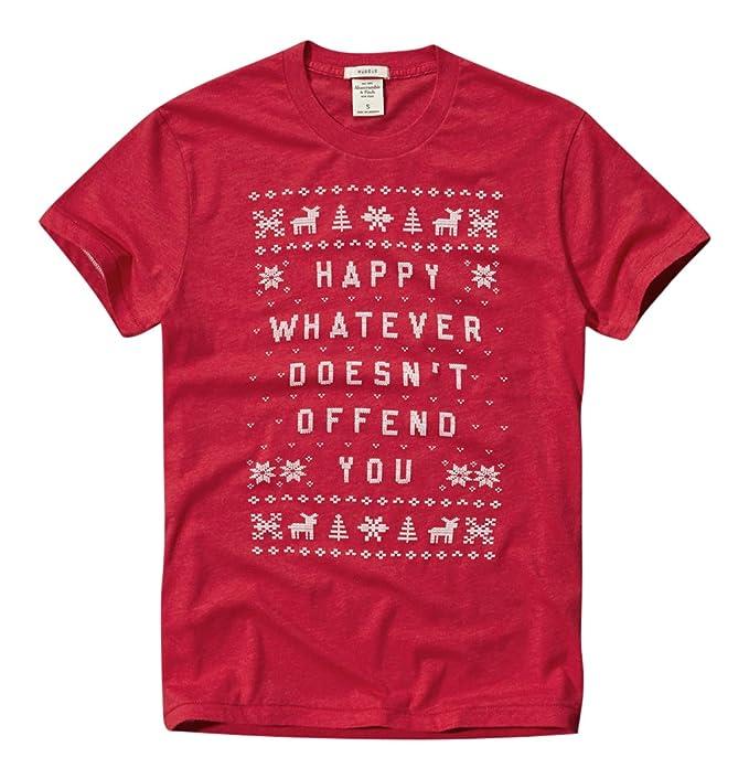 25b381b301 Abercrombie   Fitch Hombres niño manga corta konstrukteur algodón navidad –  Camiseta rojo XXL