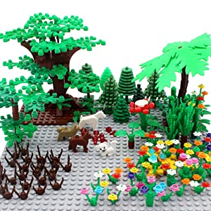ZHX Garden Park Building Block Parts Botanical Scenery Accessories Plant Set Building Bricks Toy Trees Flowers Compatible All Major Brands (Without Baseplate)