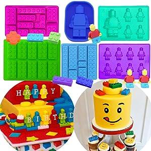 Set of 6 JeVenis Robot Molds Building Bricks Silicone Molds Building Blocks and Robots Mold for Cake Decoration Mold Chocolate Gummy Candy Cake Baking Mold