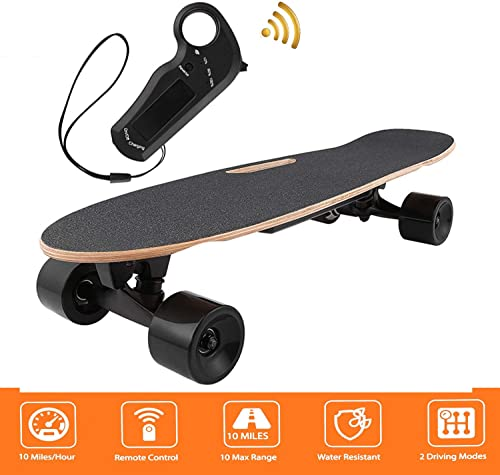 shaofu Electric Skateboard Youth Electric Longboard with Wireless Remote Control, 12 MPH Top Speed, 10 Miles Range US Stock Black