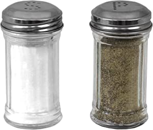 Home Basics Two Ribbed Glass Style 4oz. Tabletop Salt and Pepper Shaker Dispenser Set, Top, Home Kitchen Dinning Table, Restaurant, Clear