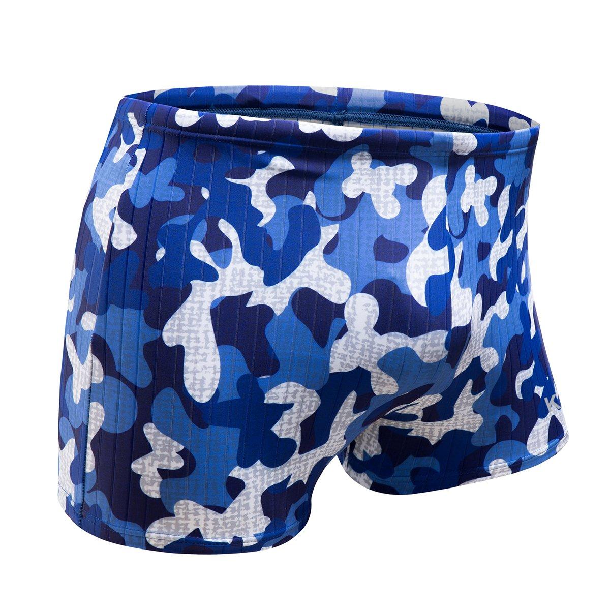KGKE Swim Boxer Briefs Short Swim Jammer by Camo Racer Mens Square Leg Swimsuit