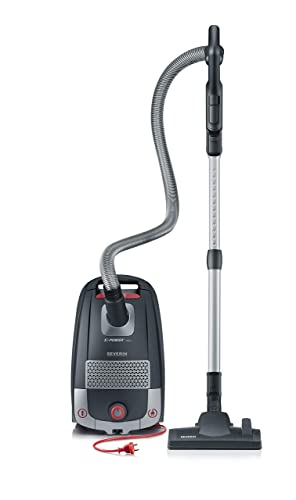 Severin S Power Zelos Bagged Canister Vacuum Cleaner, Midnight Black