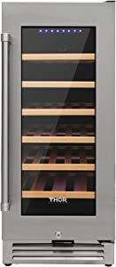 Thor Kitchen 33 Bottles Wine Cooler Refrigerator- Frost Free Wine Chiller- Suitable for 15inch Space Built-in or Freestanding - with Stainless Steel Door Frame & Double-Layer Tempered Glass Door