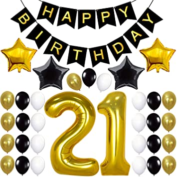 21st Birthday Decorations Party Supplies 21st Birthday Balloons 21 Balloons Number 21st Birthday Banner Black 21 Birthday Gold And Black