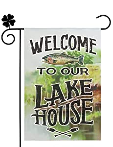 Swooflia Garden Flag Welcome to Our Lake House Small Yard Flag for Outside 12x18 Double Sided