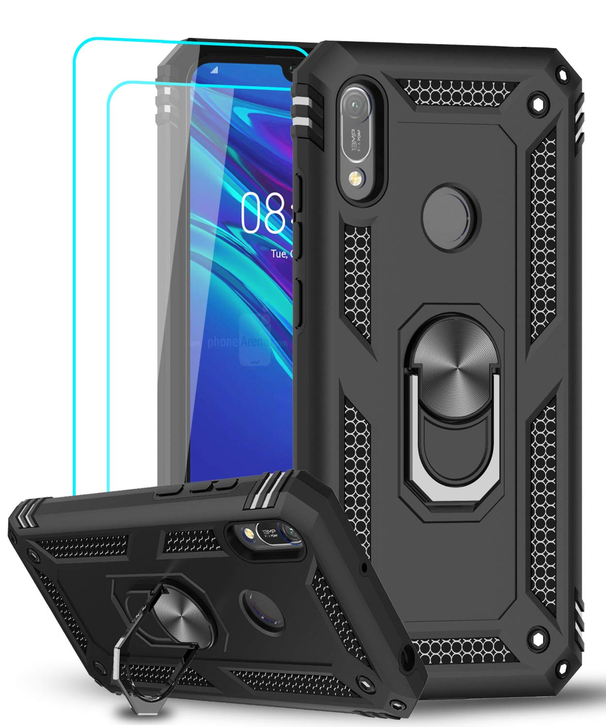LeYi Case for Huawei Y6 2019/Honor 8A with Ring Holder, Full Body Protective Silicone TPU Gel Personalised Shockproof Tough Armour Phone Cover with Screen Protector for Huawei Y6 2019/Honor 8A Black