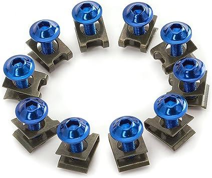 30X Blue M6 6MM Sportbike Fairing Body Bolt Screw Spire Speed Fastener Clip Nut
