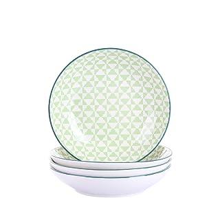 vancasso Midori Juego de Platos 4 Piezas Porcelana Platos de Cocina/Sopa Estilo Japones Platos Redondo
