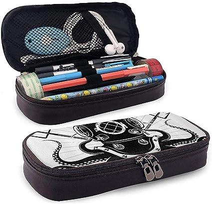 Pulpo con dos tridentes y buzo Pu Estuche para lápices de cuero Estuche con cremallera Estuche para lápices Estuche para lápices Estuche: Amazon.es: Oficina y papelería