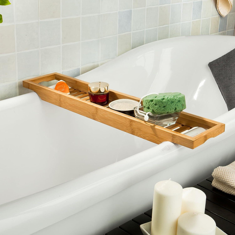 SoBuy® Ripiano per vasca da bagno in bambù,Scaffale da bagno, Set di ...