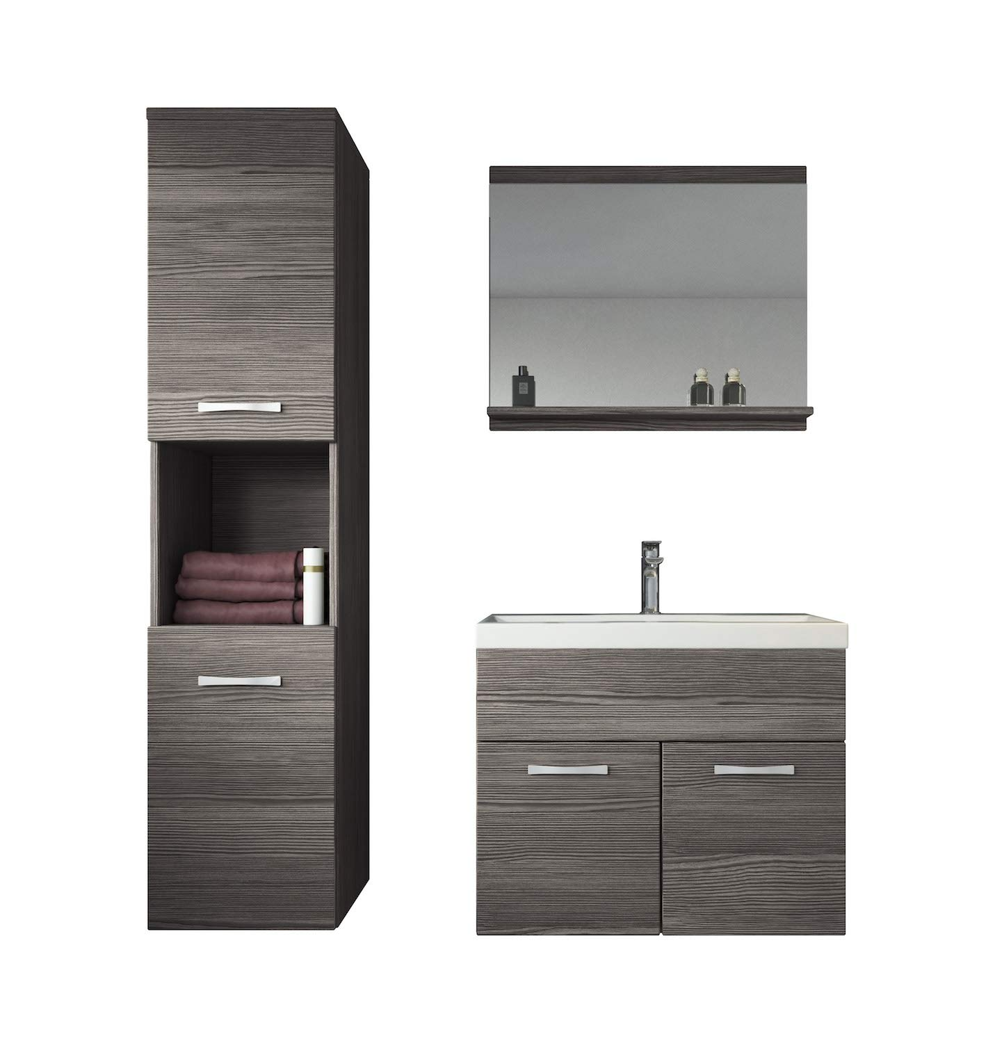 Bathroom furniture set Montreal 60cm basin - Storage cabinet vanity unit sink furniture (Bodega) Badplaats