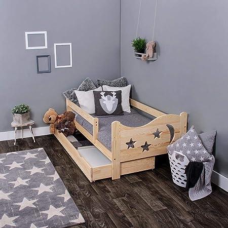 Cama infantil - KAGU Chrisi - cómoda, acogedora, cama de madera segura, para niños, multifuncional, Talla:140 x 70 cm