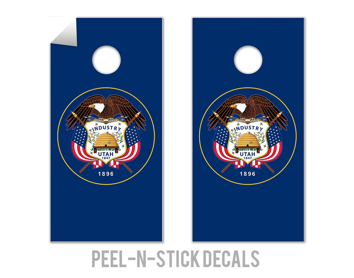 Utah State Flag - Cornhole Crew - ACA Regulation Size Cornhole Board Decals by The Cornhole Crew