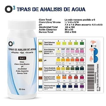 O³ Tiras De Analisis De Agua 50 Tiras 6 en 1 | Test Agua Acuario 6