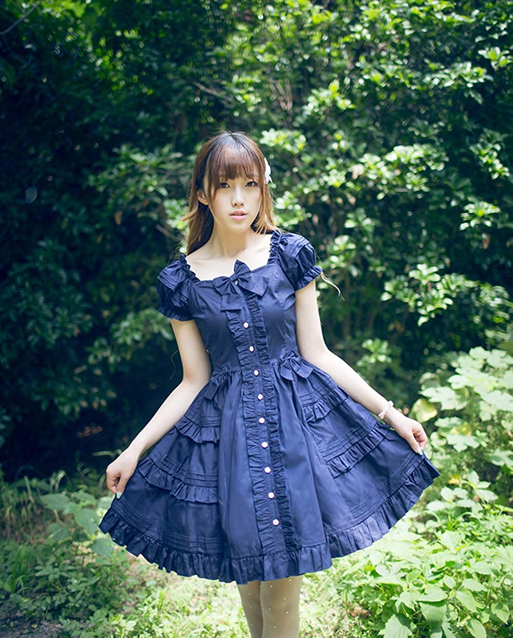 Mcttui Dress lolita clothes Lolita Dress Streetwear Shirt Women Dress Mini A-Line Bow Design Full Length Sailor Collar Patchwork JK High Waist Preppy Style Students Harajuku Lovely New