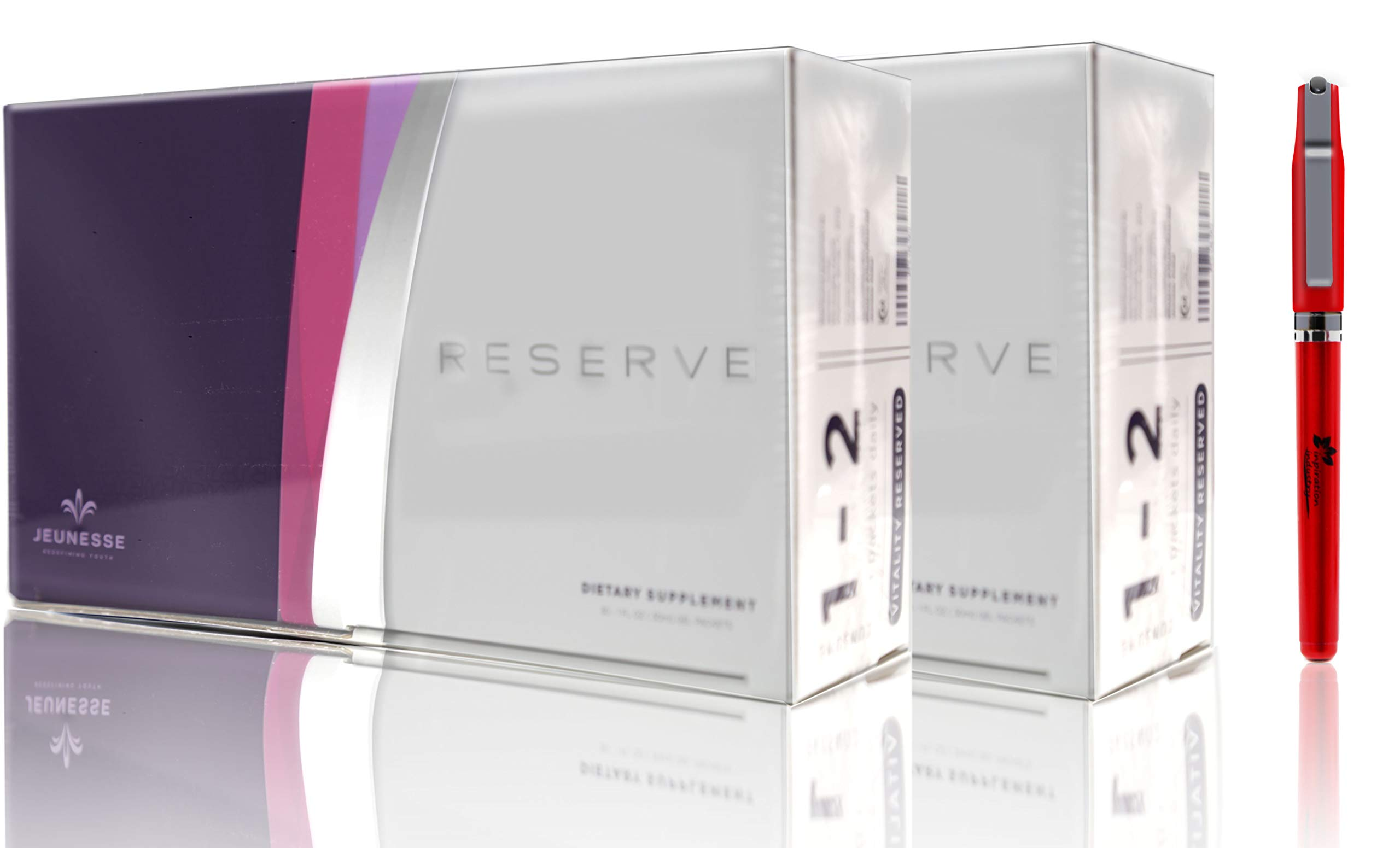 Resveratrol Jeunesse Reserve Supplement Antioxidant Fruit Blend 30 Packets/Box, Reserve Dietary Supplement Comes with Free Inspiration Industry New York Pen (2 Boxes) by Jeunesse