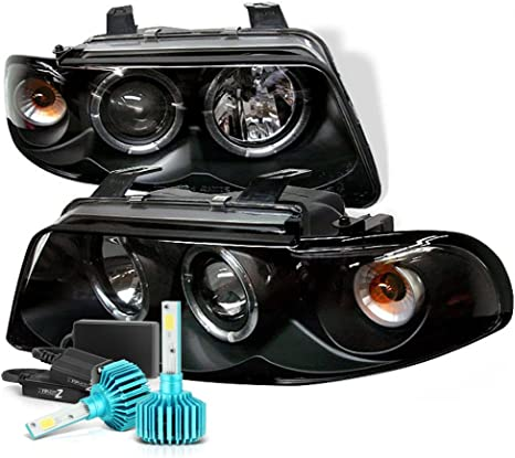 For 1997-2003 Chevy Malibu LED Halo Crystal Clear Projector Headlights Lamps