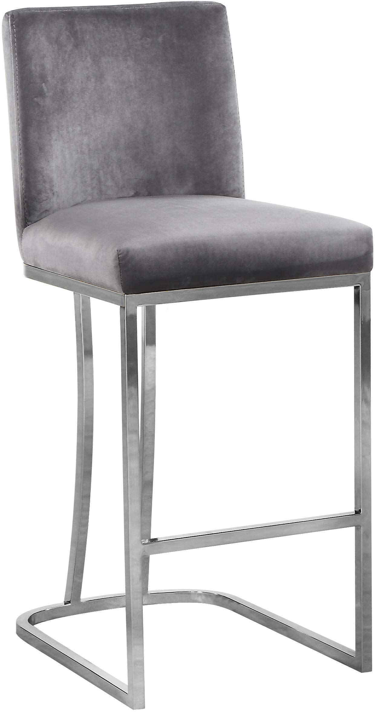 Meridian Furniture Heidi Collection Modern | Contemporary Grey Velvet Upholstered Counter Stool with Polished Chrome Metal Base, 16'' W x 19.5'' D x 36.5'' H, by Meridian Furniture