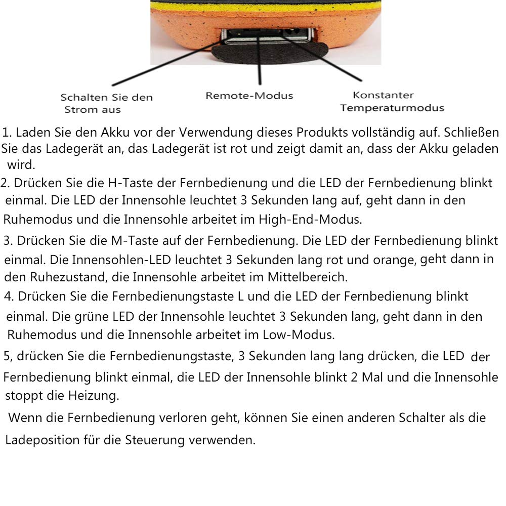 wiederaufladbar beheizbare Thermosohle Einlegsohlen mit Akkubetrieb und Funkfernbedienung LanXi/® Schuhheizung Deluxe Verschiedene Gr/ö/ßen kabellose