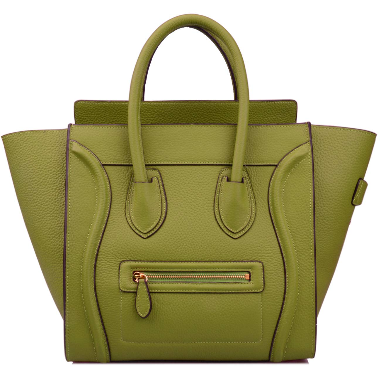 Ainifeel Women's Genuine Leather Smile Large Top Handle Handbag Purse (Large, Olive green)