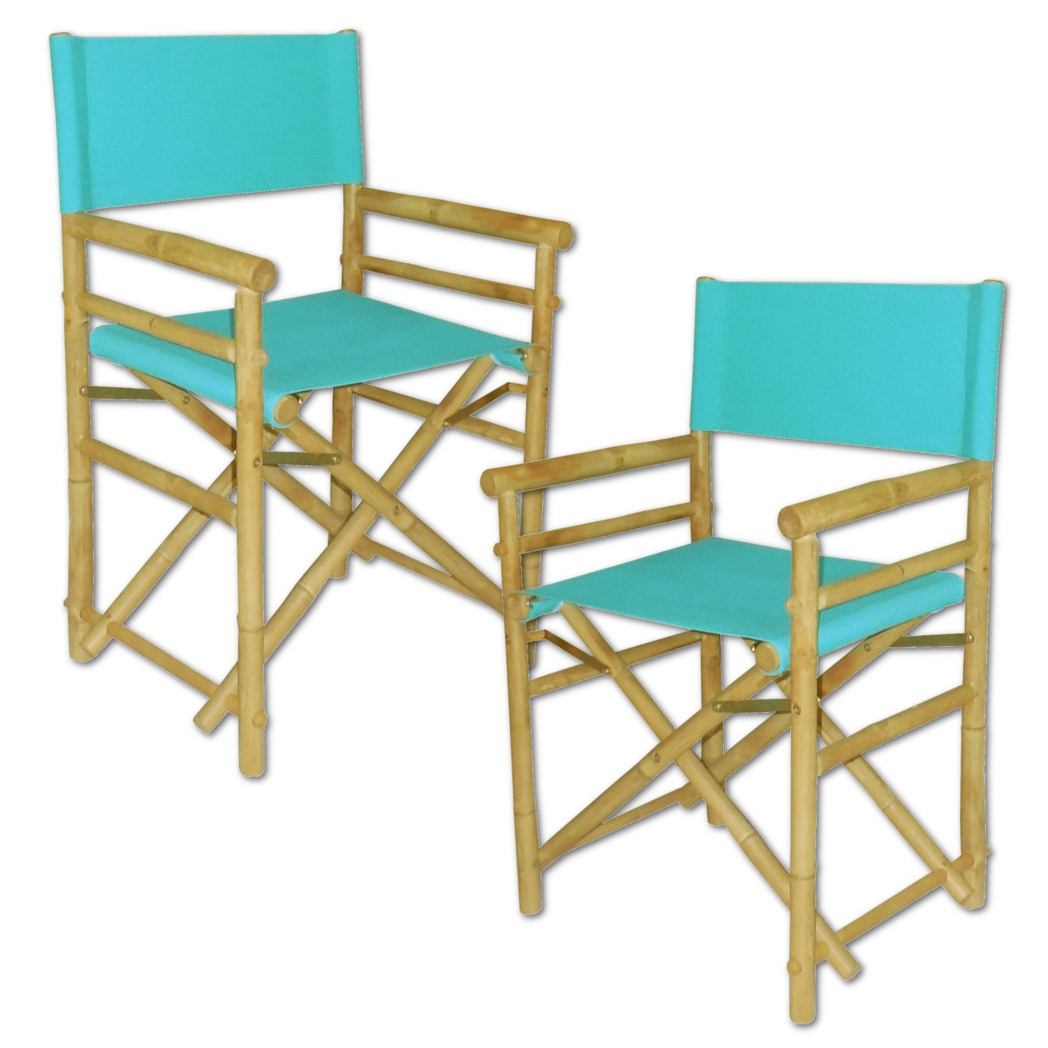 Zew Hand Crafted Foldable Bamboo Director's Chair with Treated Comfortable Canvas, Set of 2 Folding Chairs, Aqua
