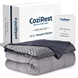 CoziRest Cooling Weighted Blanket - 15 lbs - 60x80 Queen Size - Cool Bamboo & Cozy Minky Dual-Sided Cover Included - Heavy Blanket for Adults from 140-190 lbs