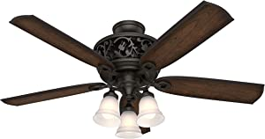 "Hunter Promenade Indoor Ceiling Fan with LED Lights and Remote Control, 54"", Brittany Bronze"