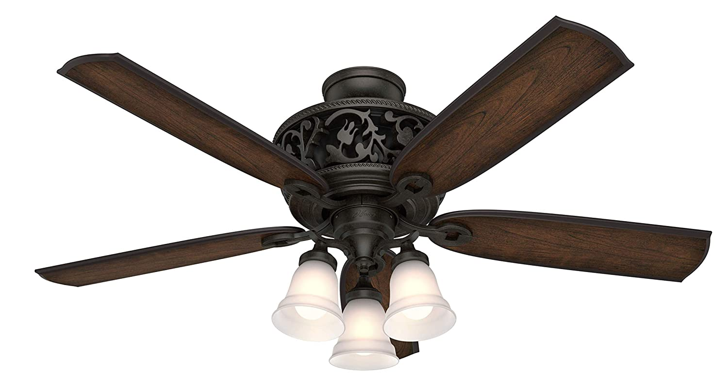 Hunter Indoor Ceiling Fan, with remote control – Promenade 54 inch, Brittany Bronze, 59546
