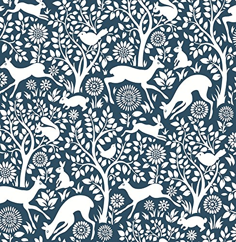 A-Street Prints 2702-22730 Meadow Navy Animals Wallpaper,