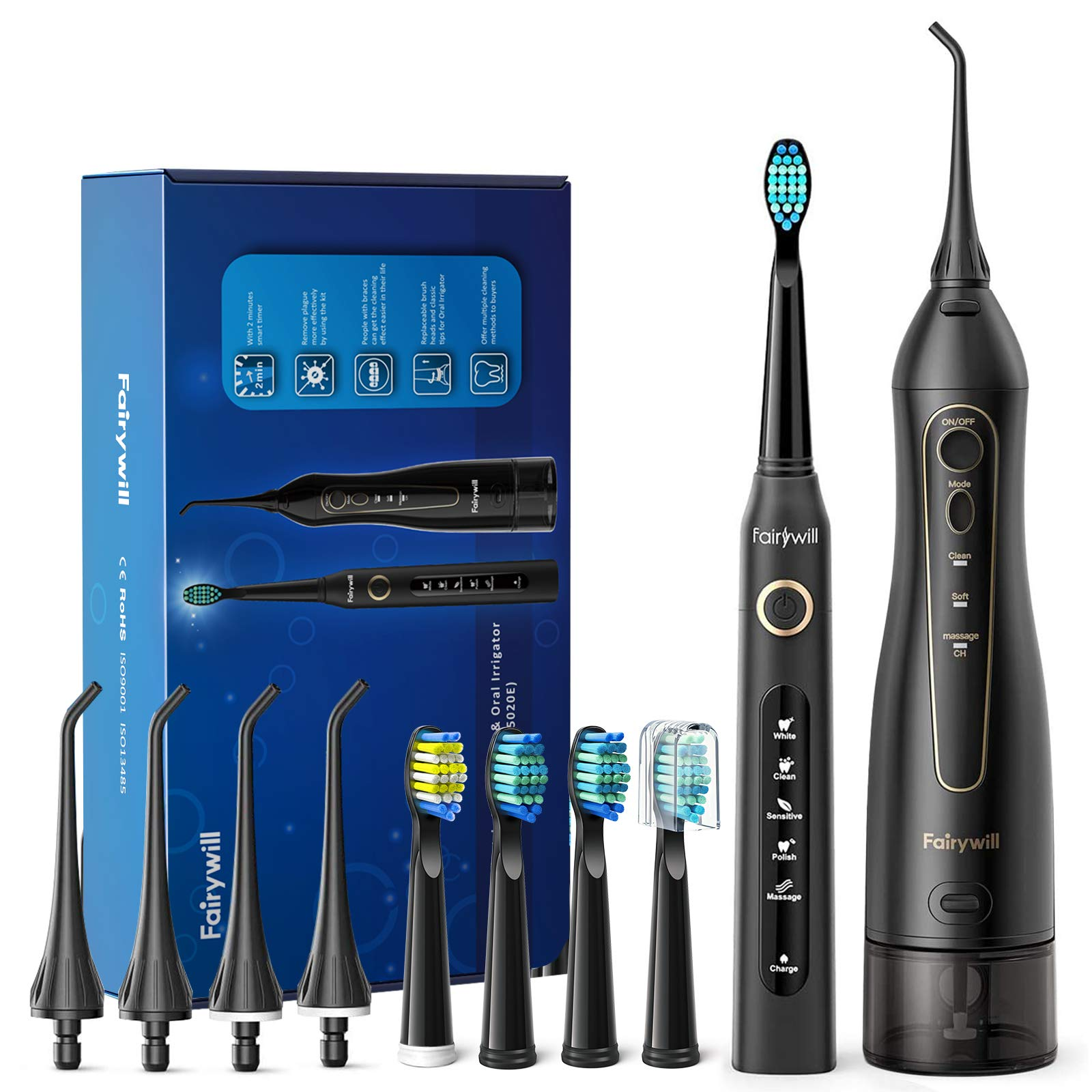 Water Flosser and Toothbrush Combo, Fairywill Teeth Cleaner Set, 4 Hours Charge for 30 Days Use, 5 Optional Modes and 4 Brush Heads Whitening Toothbrushes, 3 Modes and 4 Jet Tips Oral Irrigator