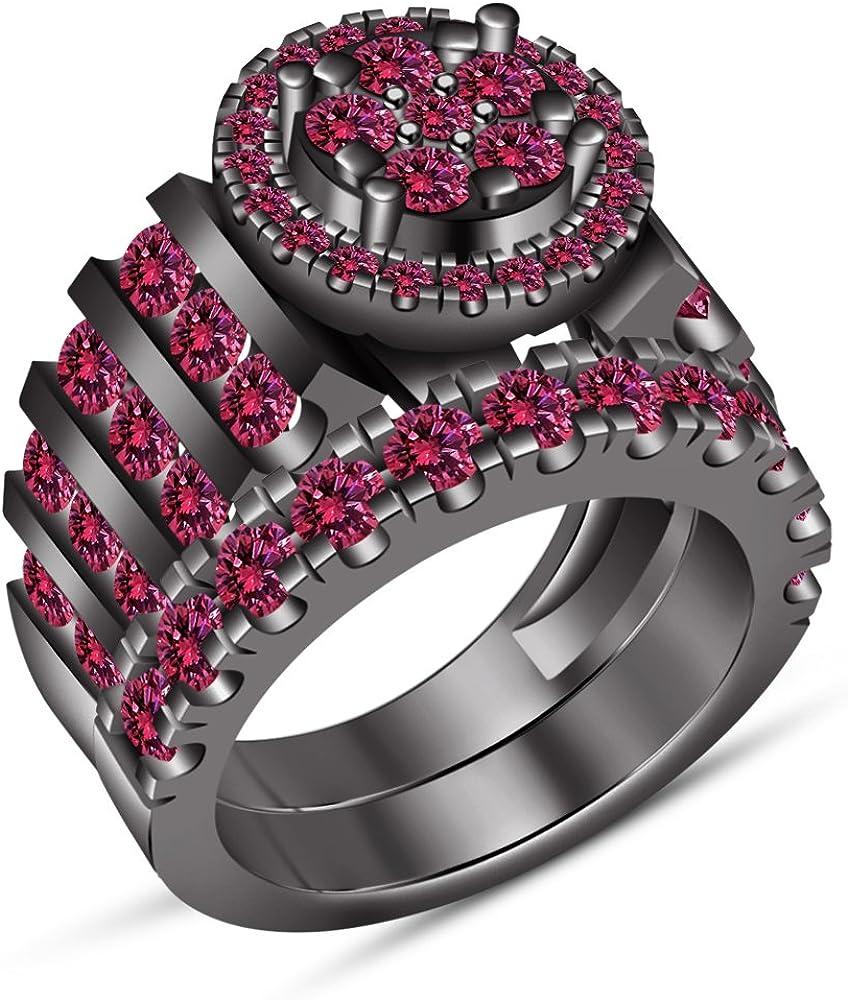 Vorra Fashion Love Forever - Juego de anillos de compromiso para mujer con zafiro rosa brillante de corte redondo (K 1/2)