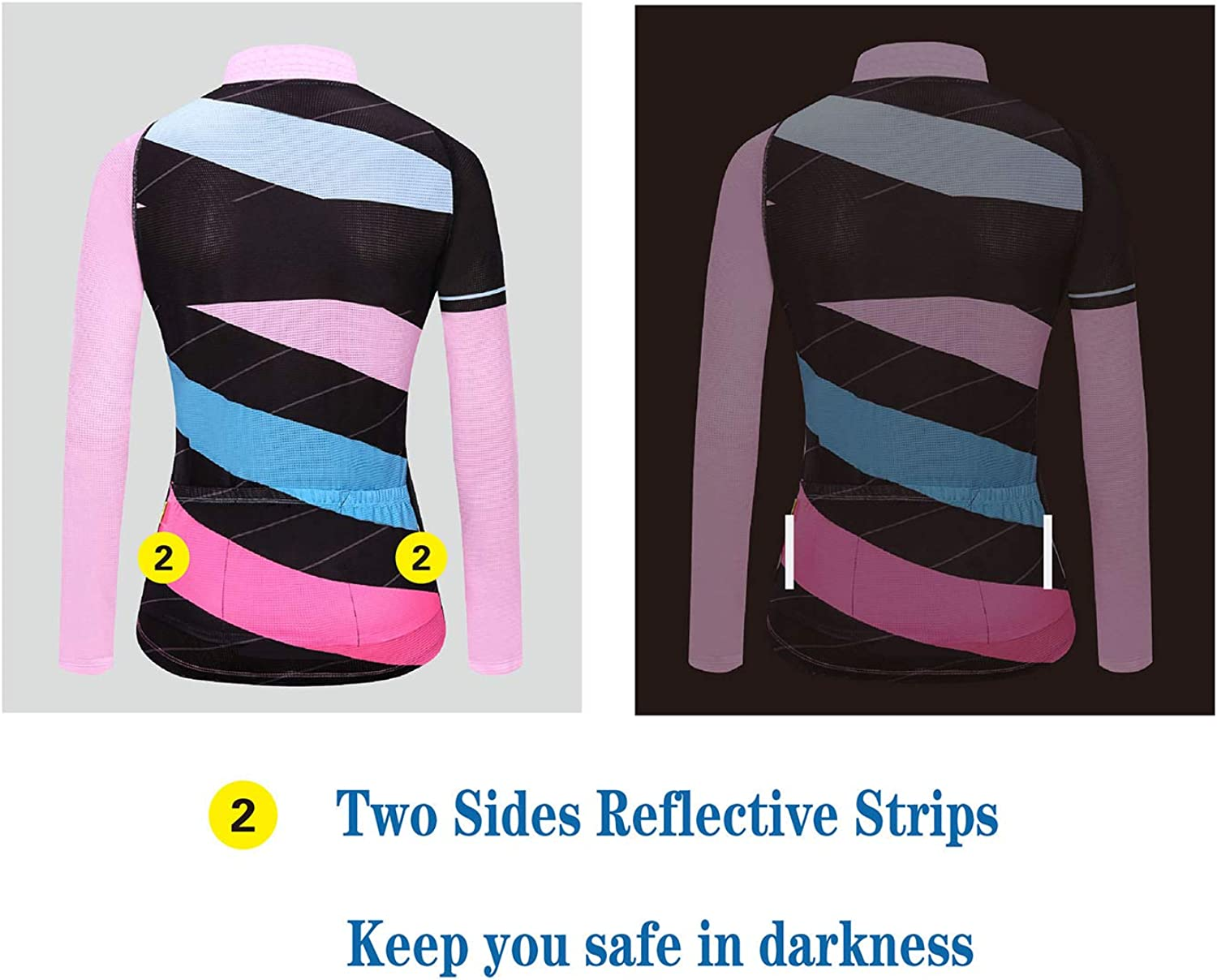 AIPEILEI Womens Long Sleeve Cycling Jersey Road Bike Clothes Mountain Riding Wear Quick Dry Breathable Pants Padded