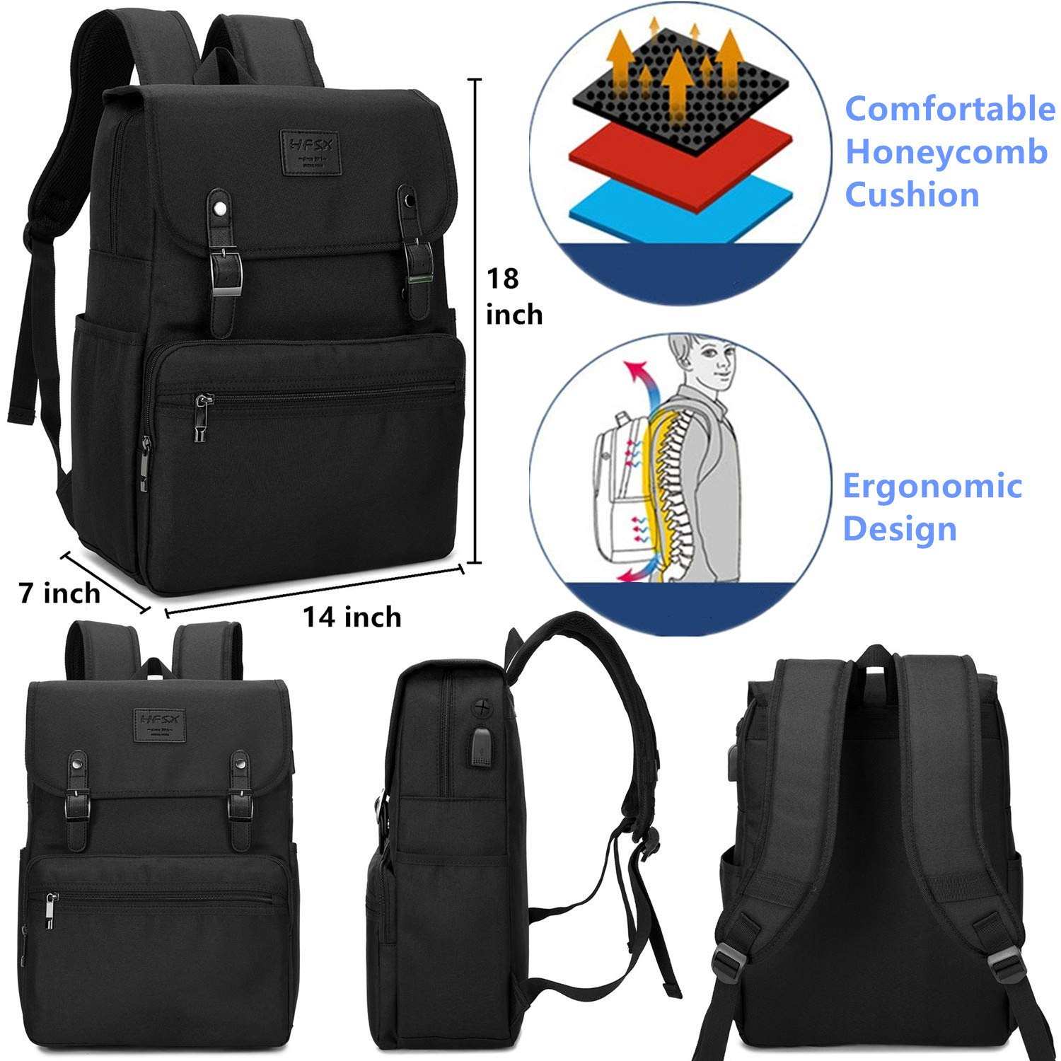 cca91c8e27c1 Laptop Backpack Men Women Business Travel Computer Backpack School College  Bookbag Stylish Water Resistant Vintage Backpack with USB Port Fits 15.6  Inch ...