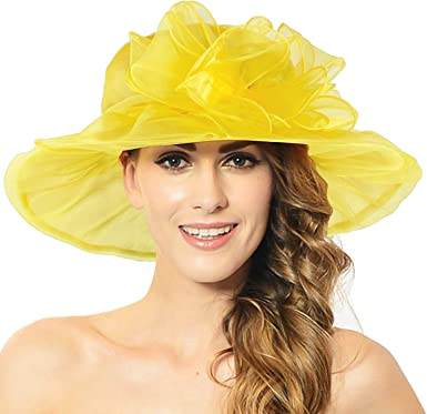 Discoball Womens Sun Hat Organza Wide Brim Wedding Hats Ladies Summer Gauze Kentucky Derby Cap for Church Wedding Party Beach Travel Outgoing