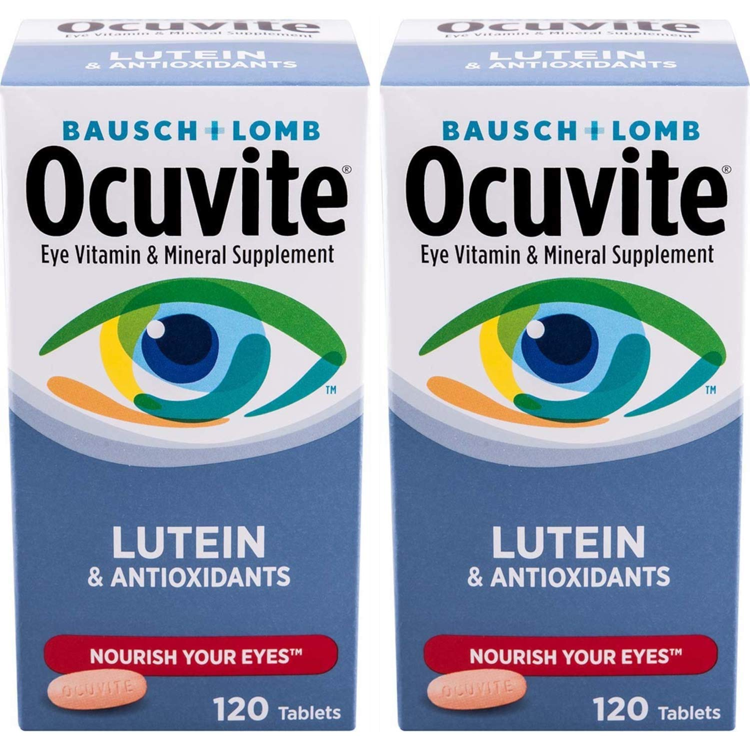 Bausch + Lomb Ocuvite Vitamin & Mineral Supplement Tablets with Lutein, 120 Count Bottle (Pack of 2) by Bausch & Lomb