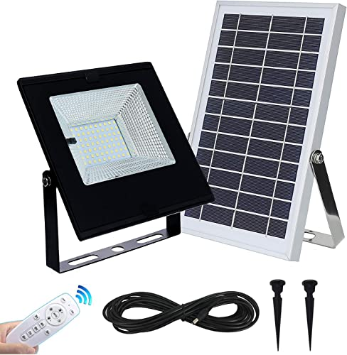 Solar Flood Lights Outdoor Indoor Dusk to Dawn with Remote Controller 6000mah 70Leds Security Light IP65 Waterproof for Garden,Landscape,Yard,Porch,Patio,Garage,Pool,Sign,Billboard,Shed,Barn
