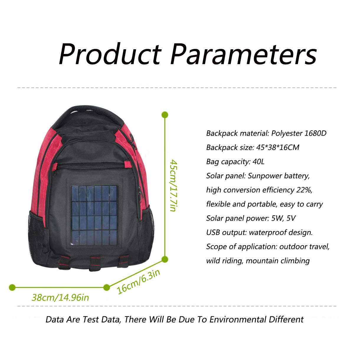 b9966738d92d Amazon.com: EFGS Backpack with 5W Solar Panel Solar Charger Backpack ...