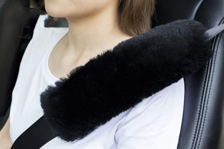 2pcs Authentic Sheepskin Auto Seat Belt Cover