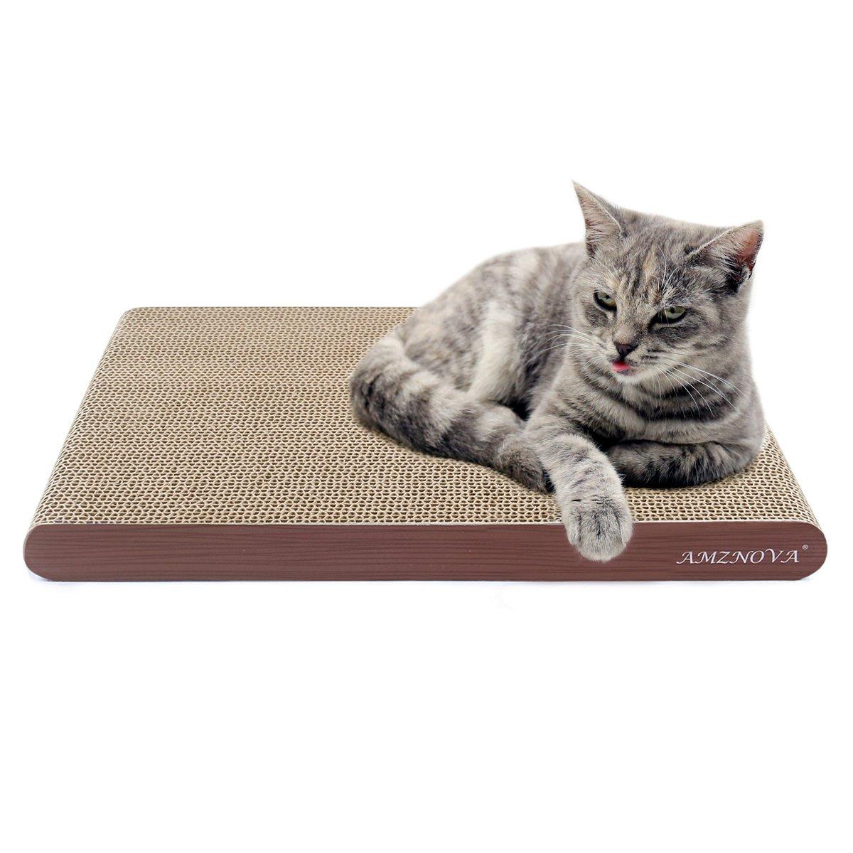 AMZNOVA Cat Scratcher Cardboard Scratching Pads Scratch Lounge Sofa Bed, Wide, Wood Floor Print, 1 Pack